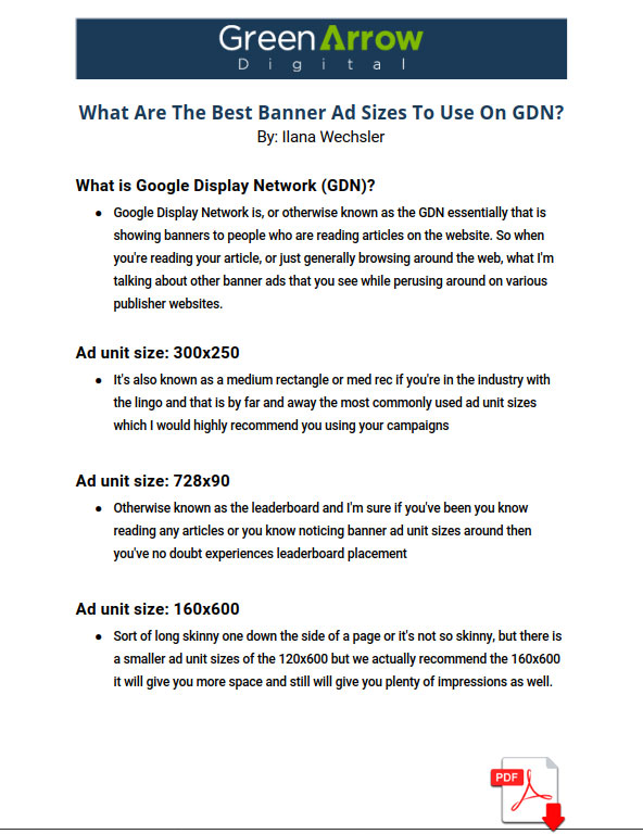 Quick Tip Episode - What Are The Best Banner Ad Sizes To Use On GDN