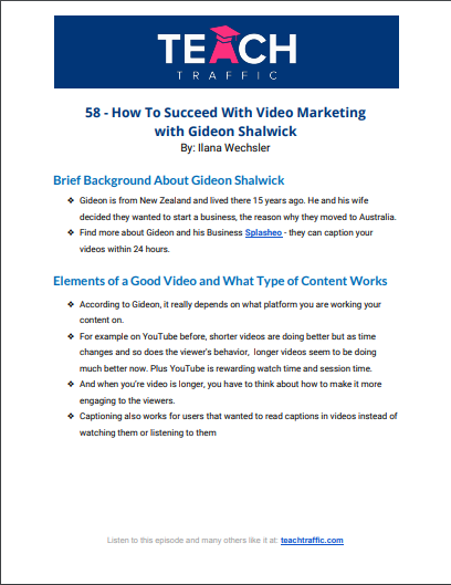How To Succeed With Video Marketing with Gideon Shalwick